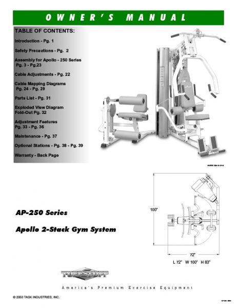 TuffStuff Apollo 2-Stack Gym (AP-250) Owner's Manual
