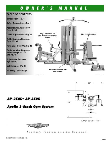 TuffStuff Apollo 3-Stack Gym (AP-350) Owner's Manual