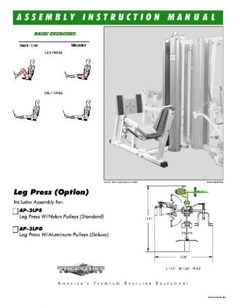 TuffStuff Apollo Leg Press (AP-3LP) Owner's Manual