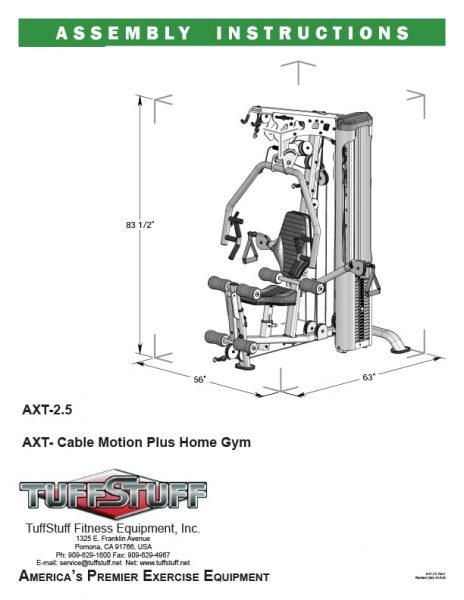 TuffStuff AXT 2.5 Home Gym Owner's Manual