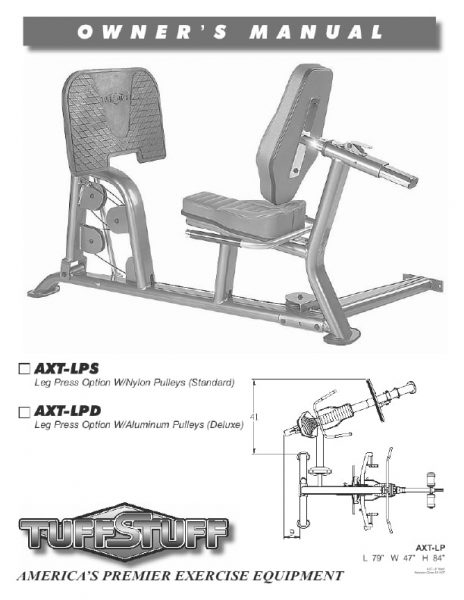 TuffStuff Fitness AXT Home Gym Leg Press Owners Manual