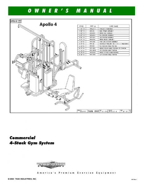 TuffStuff Apollo 4 Gym System (AP-4) Owner's Manual