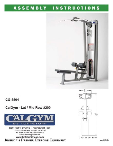 CalGym Lat / Mid Row (CG-5504)