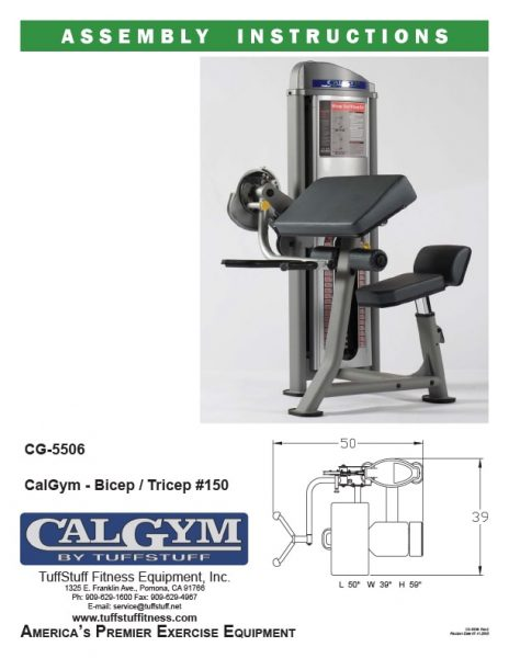 CalGym Bicep / Tricep (CG-5506) Owner's Manual