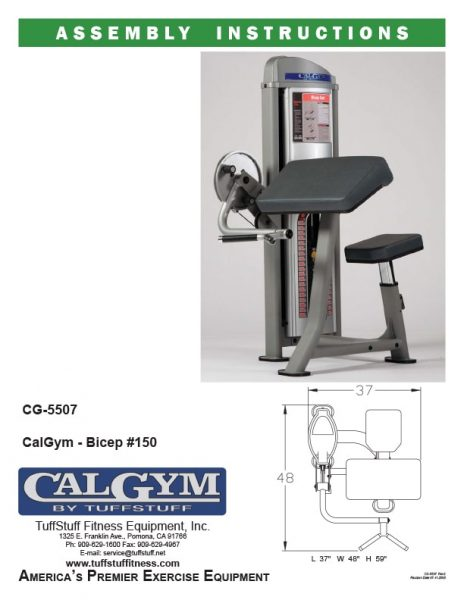 CalGym Bicep #150 (CG-5507) Owner's Manual
