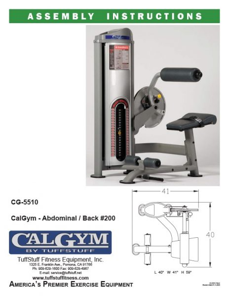CalGym Abdominal / Back #200 (CG-5510) Owner's Manual