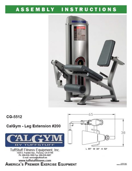 CalGym Leg Extension (CG-5512) Owner's Manual