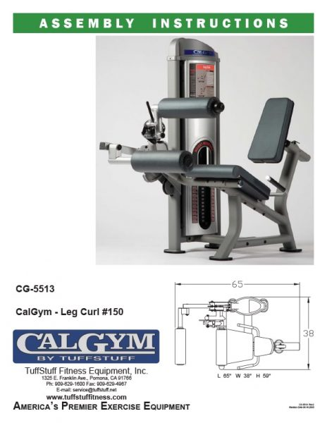 CalGym Leg Curl (CG-5513) Owner's Manual