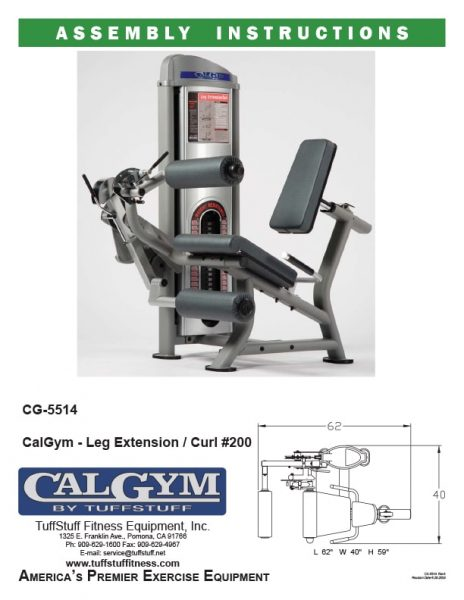 CalGym Leg Extension / Curl (CG-5514) Owner's Manual