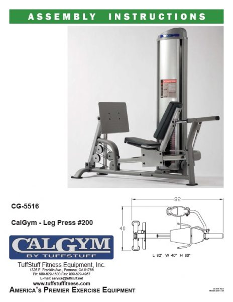 CalGym Leg Press (CG-5516) Owner's Manual