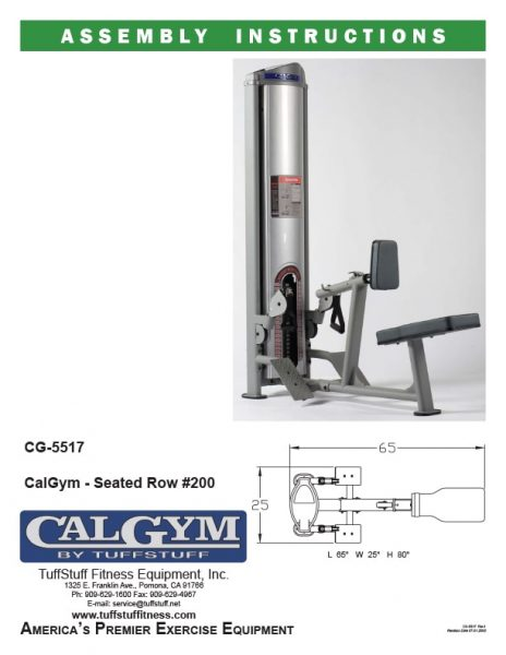 CalGym Seated Row (CG-5517) Owner's Manual