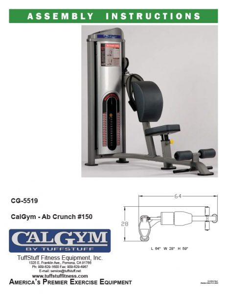 CalGym Ab Crunch (CG-5519) Owner's Manual