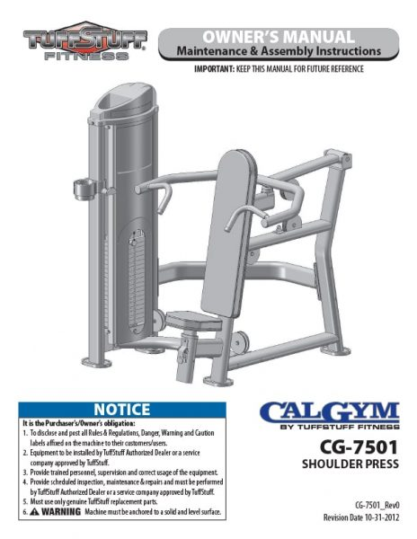 CalGym Shoulder Press (CG-7501) Owner's Manual