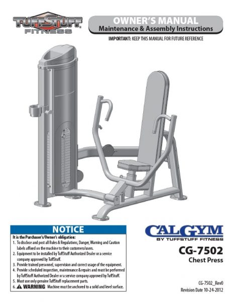 CalGym Chest Press (CG-7502) Owner's Manual