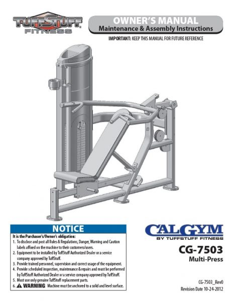 CalGym Multi-Press (CG-7503) Owner's Manual