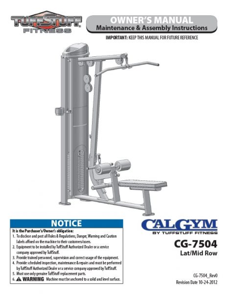CalGym Lat / Mid Row (CG-7504) Owner's Manual
