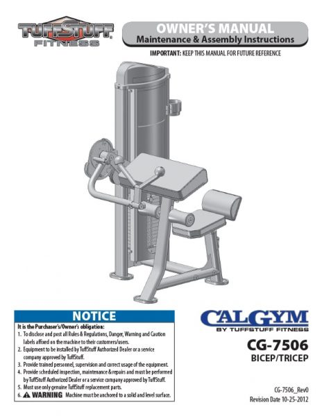 CalGym Bicep / Tricep (CG-7506) Owner's Manual