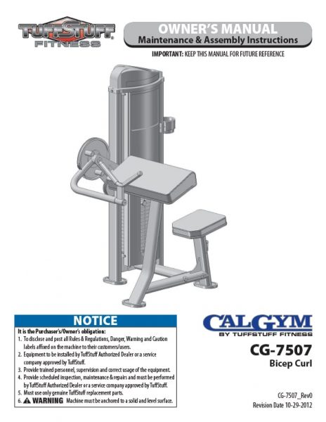 CalGym Bicep Curl (CG-7507) Owner's Manual