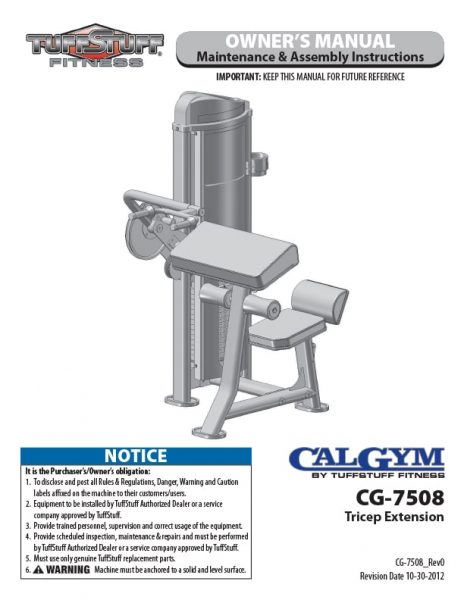 CalGym Tricep Ext (CG-7508) Owner's Manual