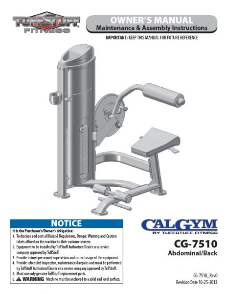 CalGym Ab / Back (CG-7510) Owner's Manual