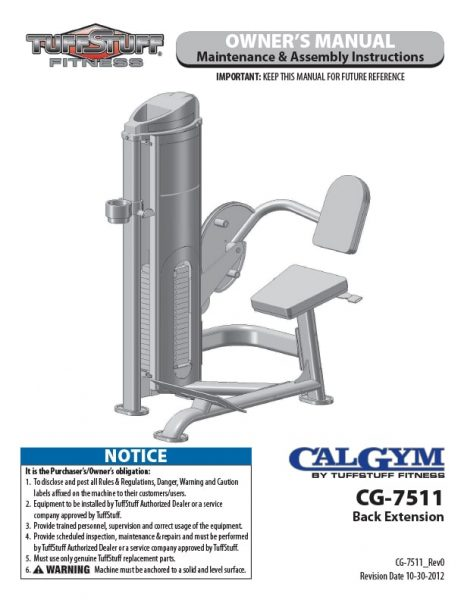 CalGym Back Extension (CG-7511) Owner's Manual
