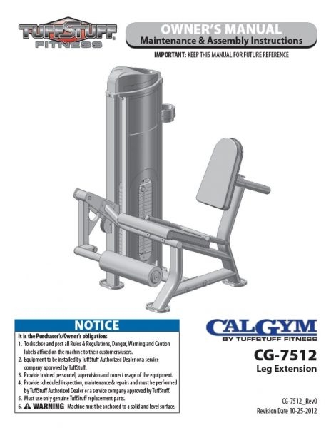CalGym Leg Extension (CG-7512) Owner's Manual