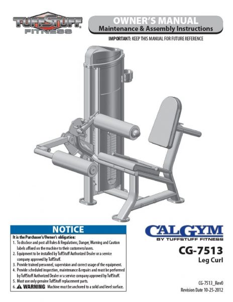 CalGym Leg Curl (CG-7513) Owner's Manual