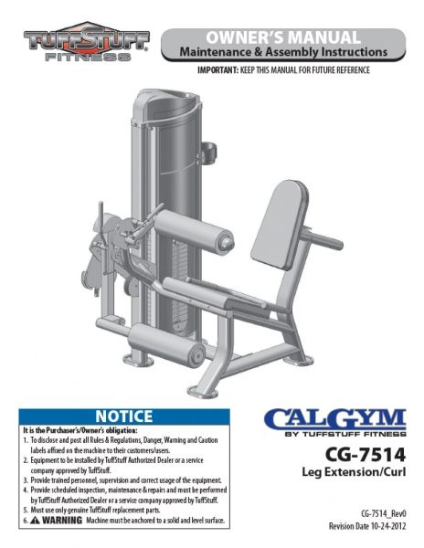 CalGym Leg Ext / Cul (CG-7514) Owner's Manual