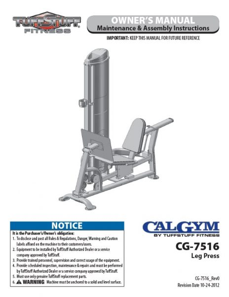 CalGym Leg Press (CG-7516) Owner's Manual