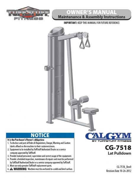CalGym Lat Pulldown (CG-7518) Owner's Manual