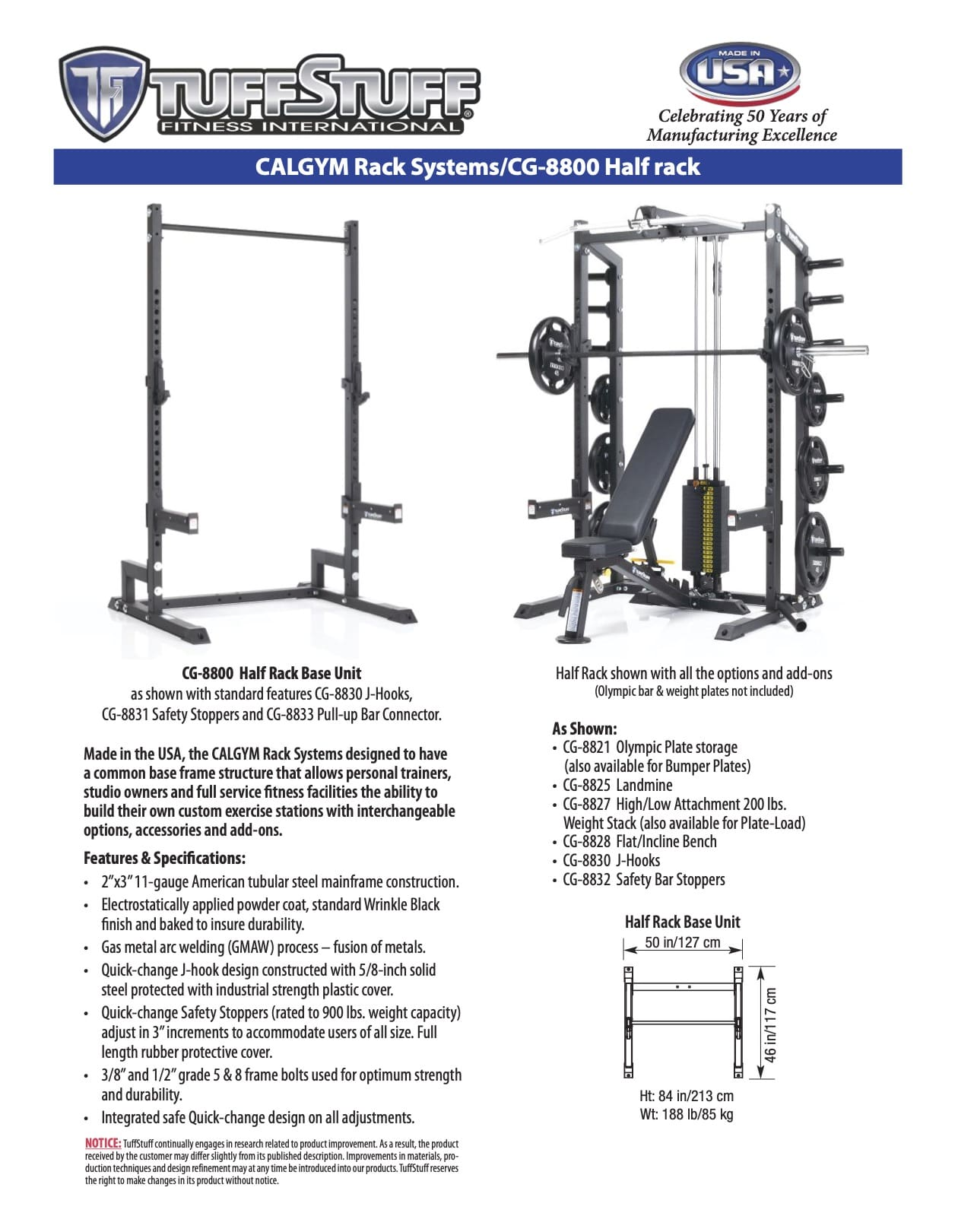 CalGym Half Rack CG-8800 Product Overview