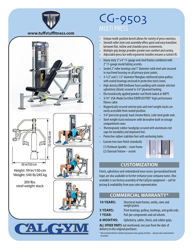 Spec Sheet: CalGym Mult Press (CG-9503)