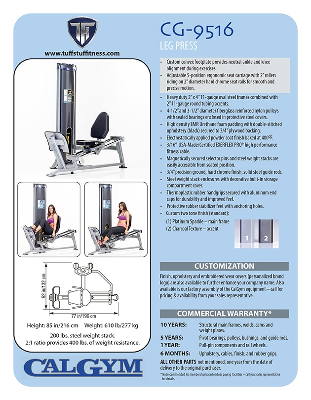 Spec Sheet - CalGym Seated Leg Press (CG-9516)