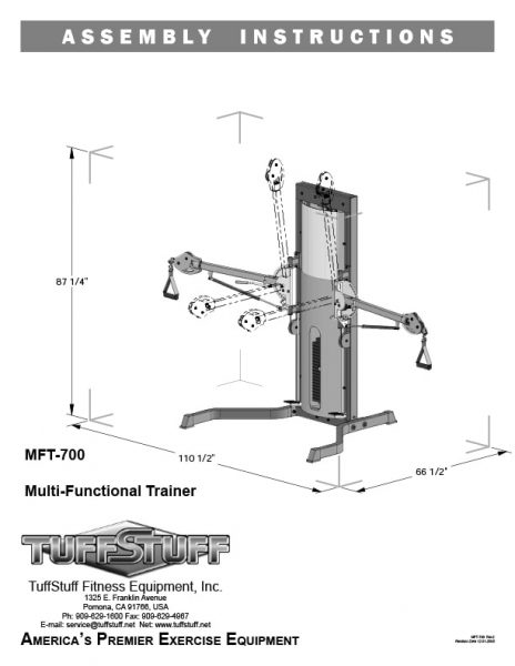 TuffStuff (MFT-700) Functional Trainer Owner's Manual