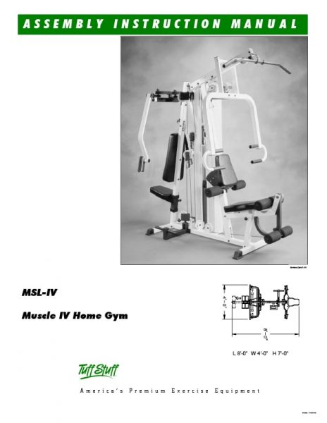 TuffStuff Muscle 4 Home Gym Owner's Manual