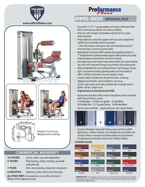 Spec Sheet: Proformance Plus Ab / Back (PPD-805)