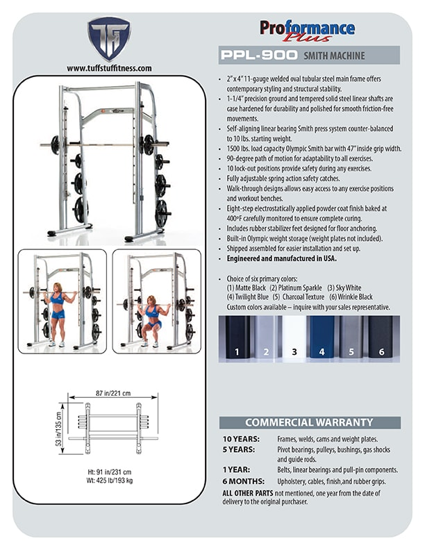 Spec Sheet - Proformance Plus Smith Machine (PPL-900)