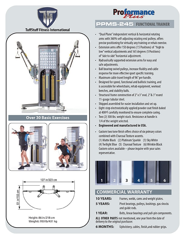 Spec Sheet - Proformance Plus Functional Trainer (PPMS-245)