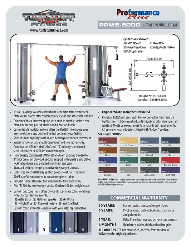 Spec Sheet - Proformance Plus 6-Station Jungle Gym (PPMS-6000)