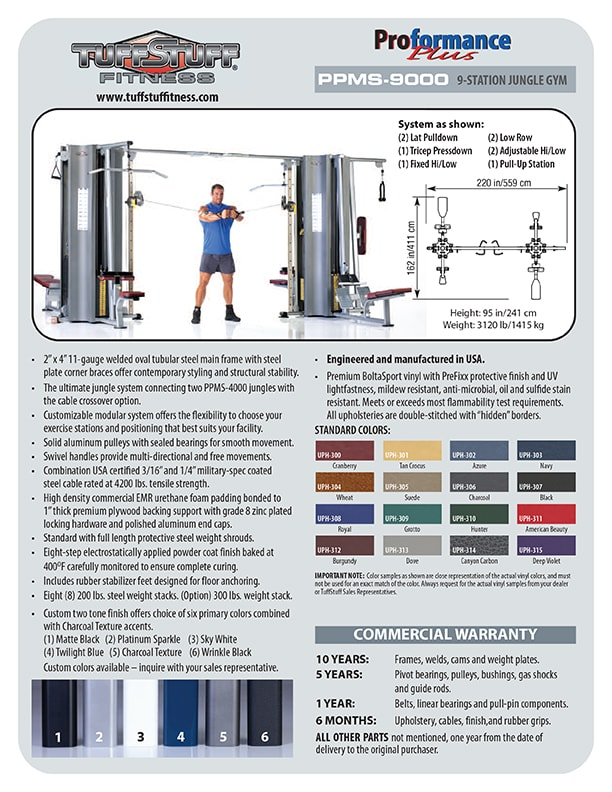 Spec Sheet - Proformance Plus 9-Station Jungle Gym (PPMS-9000)