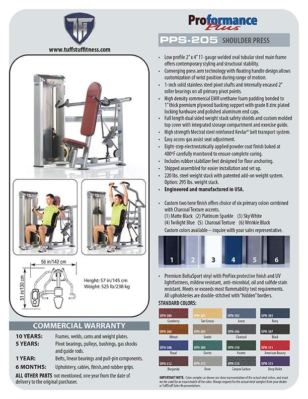 Spec Sheet - TuffStuff's Proformance Plus Shoulder Press (PPS-205)