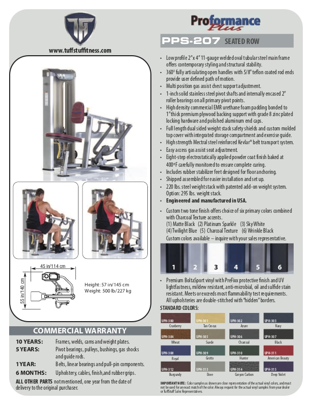 Spec Sheet - Proformance Plus Seated Row (PPS-207)
