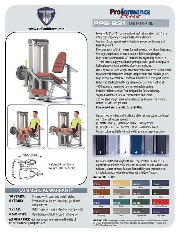 Spec Sheet - Proformance Plus Leg Extension (PPS-231)