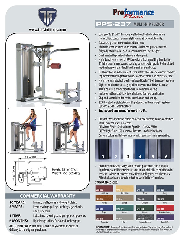Spec Sheet - Proformance Plus Multi-Hip Flexor (PPS-237)