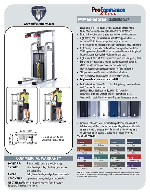 Spec Sheet - Proformance Plus Standing Calf
