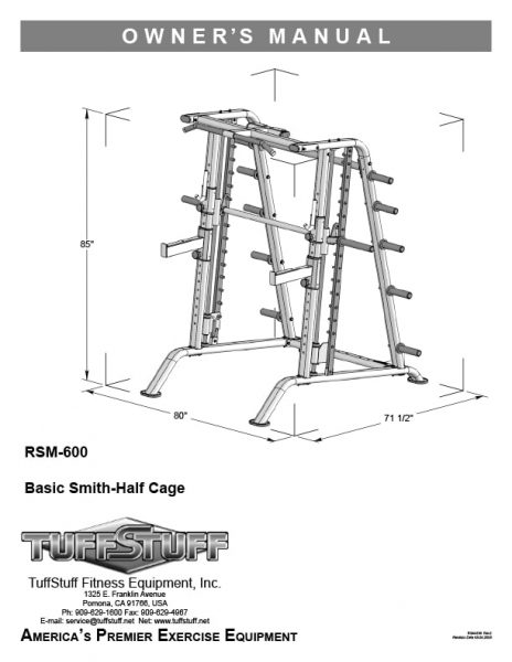 TuffStuff Basic Smith Half Cage (RSM-600) Owner's Manual