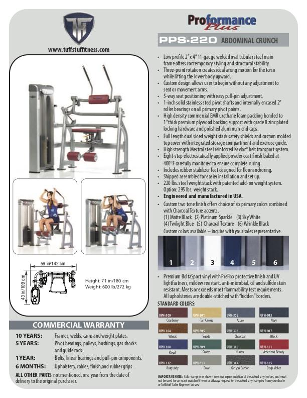 Spec Sheet - Proformance Plus Abdominal Crunch (PPS-220)