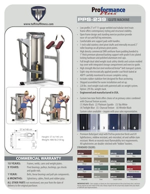 Spec Sheet Proformance Plus Glute Machine (PPS-239)