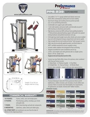 Spec Sheet Proformance Plus Glute Machine (PPS-239)