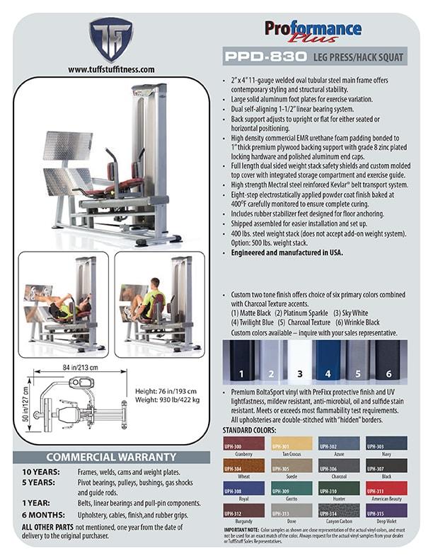 Spec Sheet - Proformance Plus Leg Press Hack Squat (PPD-830)